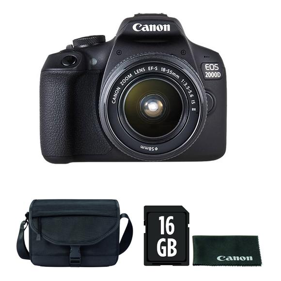 Canon EOS 2000D DSLR fényképezőgép kit (18-55mm IS II objektívvel) + Canon táska + 16GB SD + törlőkendő