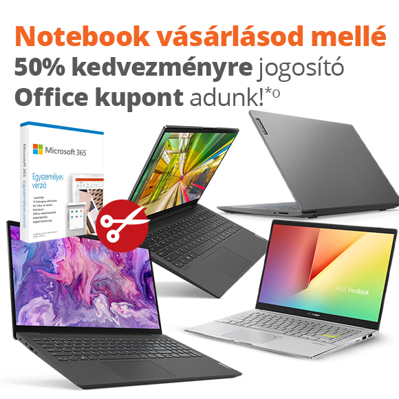 Notebook vásárlásod mellé 50%-os kedvezményre jogosító Office kupont adunk!
