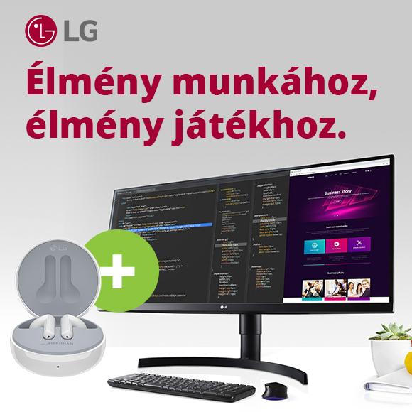 LG monitorok vezeték nélküli Bluetooth fülhallgatóval.