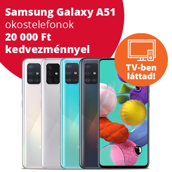 Samsung Galaxy A51 okostelefonok 20 000 Ft kedvezménnyel