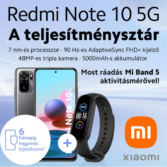 Xiaomi Redmi Note 10 5G ráadás Mi Band 5 aktivitásmérővel!
