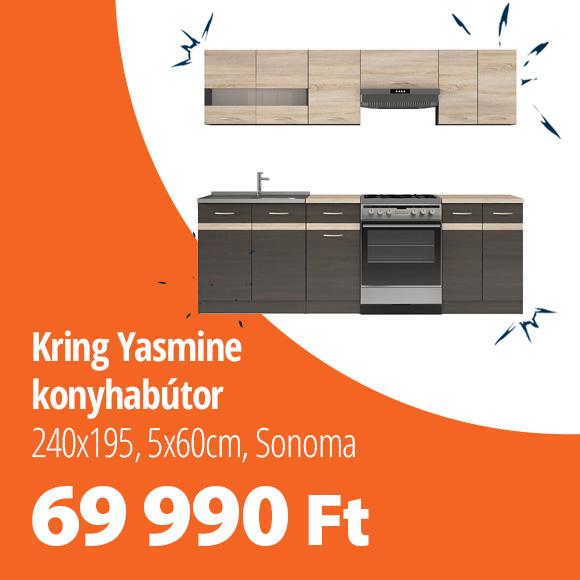 Kring Yasmine konyhabútor, 240x195,5x60cm, sonoma tölgy/wenge