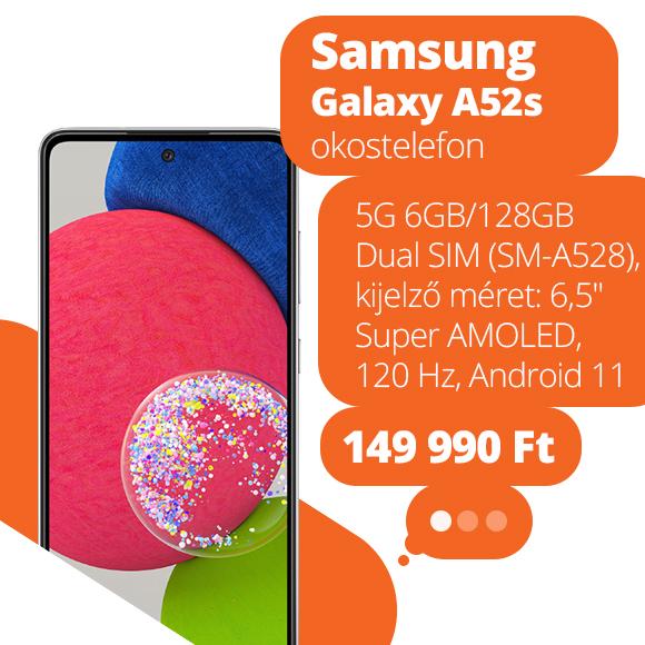 Samsung Galaxy A52s 5G 6GB/128GB Dual SIM (SM-A528) kártyafüggetlen okostelefon, Király fekete (Android)